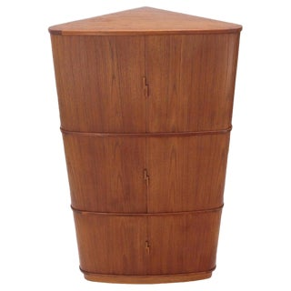 Rare Large Tambour Door Danish Modern Teak Corner Cabinet For Sale