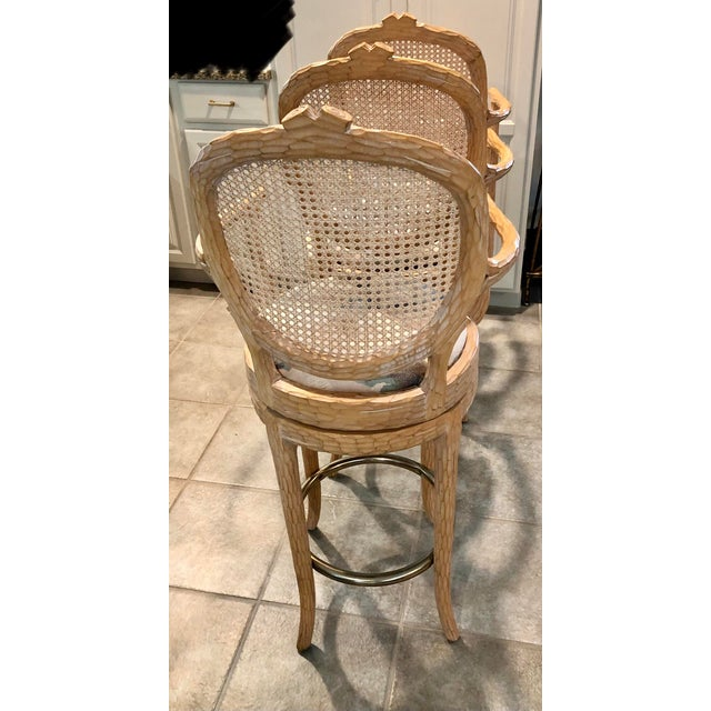 Tan Vintage Faux Bois Cane Back Whitewash Natural Wood Stools With Arms and Brass Footrests - Set of 4 For Sale - Image 8 of 11