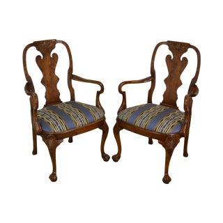 Georgian Style Custom Quality Pair Yew Wood Ball & Claw Armchairs For Sale