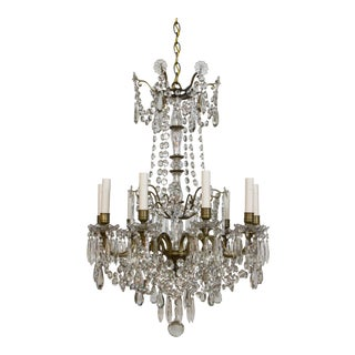 19th C. Portieux Bronze and Crystal Chandelier For Sale