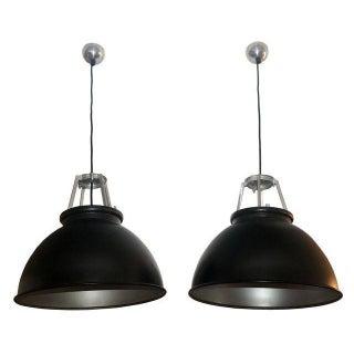 Industrial Black & Silver Light Fixtures - A Pair