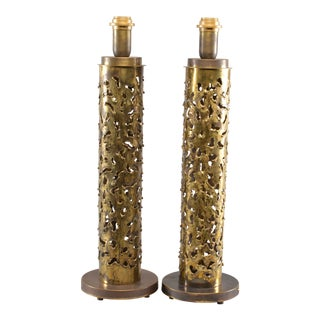 Pair Italian Brutalist Style Torch Cut Brass Tall Narrow Lamps For Sale