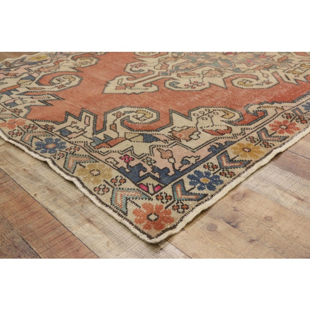 Distressed Vintage Turkish Oushak Rug With Art Deco Style - 4'05 x 7'07 For Sale In Dallas - Image 6 of 9