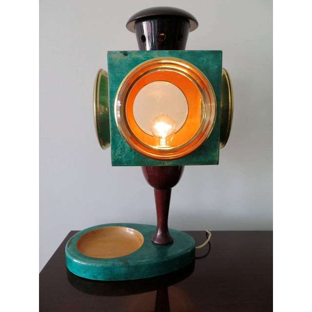 Animal Skin 1970s Vintage Aldo Tura Goatskin Lantern Lamp For Sale - Image 7 of 8