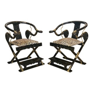 Mid 18th Century Vintage Chinese Horseshoe Black Lacquered Folding Armchairs- A Pair For Sale