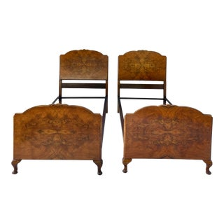 Pair of Antique Burl Wood Twin Bed Frames For Sale
