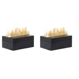 Modern Punk Black Leather Storage Box - Set of 2
