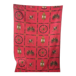 Vintage French Red Printed Fabric Curtain Drape For Sale