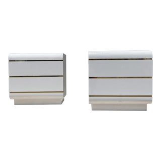 1980s Postmodern White and Brass Waterfall Nightstands - a Pair For Sale