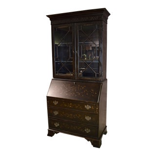 1980s Belle Epoque Ethan Allen 2 Piece Florentine Style Painted Secretary Desk For Sale