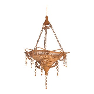 Woven Hanging Lamp, 20th Century For Sale