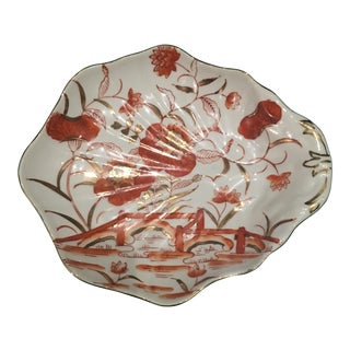 Vintage Hand Painted Japanese Scalloped Dish For Sale
