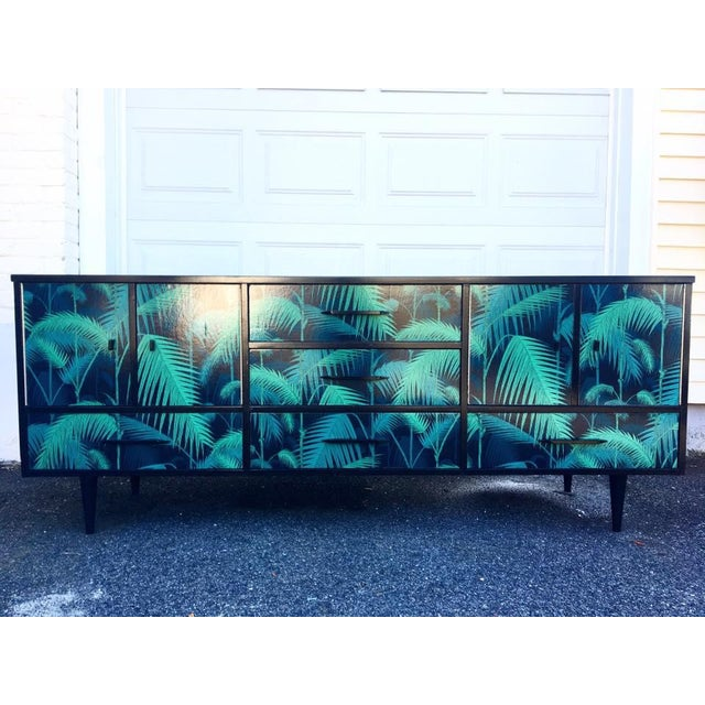 Mid-Century Palm Leaf Print Credenza - Image 2 of 5