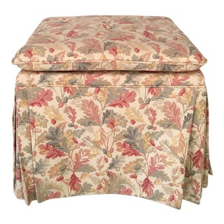 Small Oak Leaf Linen Ottoman For Sale