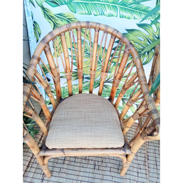 Traditional Vintage Coastal Regency Bamboo Side Chairs Wheat Upholstered Seats -A Pair For Sale - Image 3 of 12
