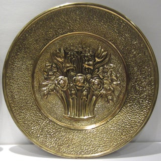 Vintage Mid Century Brass Fruit & Floral Wall Plates - a Pair Preview