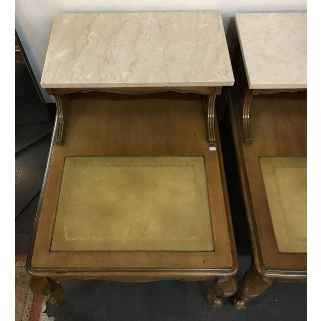 Antique French Style Marble Top Nightstands - A Pair - Image 9 of 10
