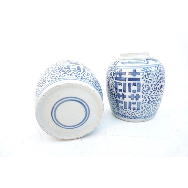 Antique Kangxi Period Chinese Blue & White Porcelain Ginger Jars- a Pair || Double Ring Marked For Sale - Image 4 of 11