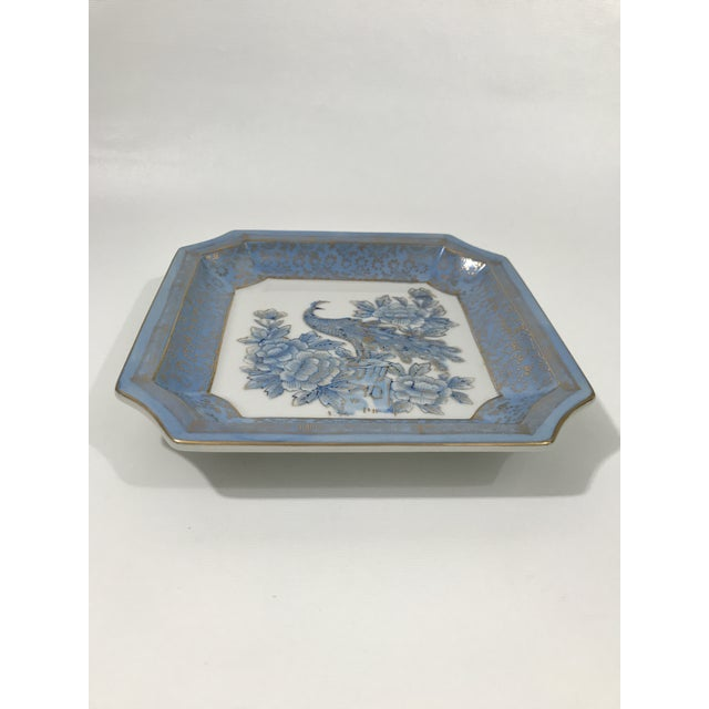 Vintage Japanese porcelain square dish with cut corners. Features blue glaze and gilt decoration with traditional peacock...