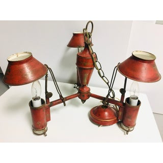 Vintage Red Painted Tole Bouillotte Chandelier Preview