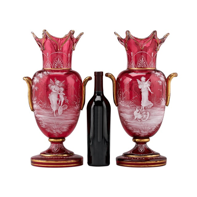 Red Mary Gregory Cranberry Glass Vases For Sale - Image 8 of 9