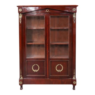 19th Century French Empire Style Bronze-Mounted Bibliotheque Cabinet For Sale