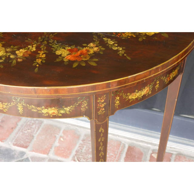George III Paint Decorated Demilune Game Table, circa 1780 For Sale - Image 4 of 8