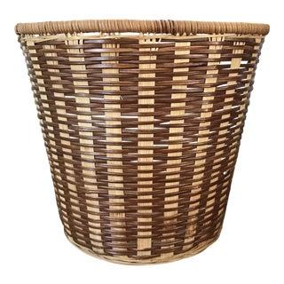 1970s Vintage Boho Chic Rattan Basket Planter For Sale