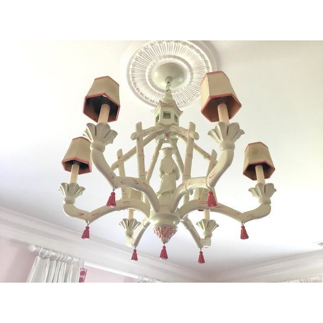 Chic Chinoiserie 6-Arm Chandelier For Sale - Image 10 of 11