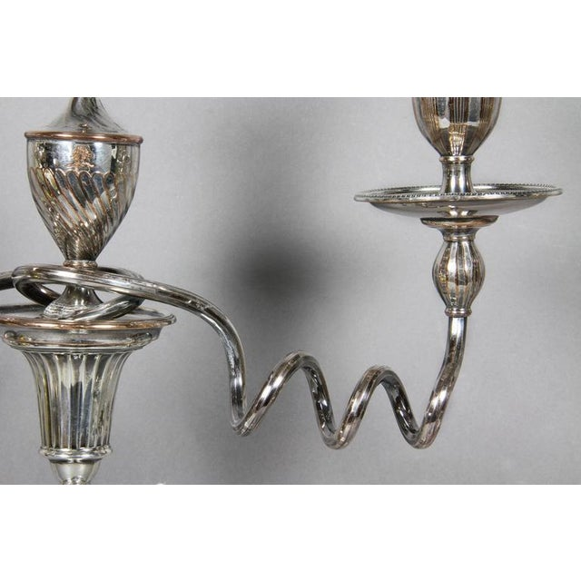Traditional Pair of George III Sterling and Sheffield Plate Candelabra For Sale - Image 3 of 10