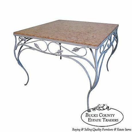 Salterini Square Ornate Iron Marble Top Patio Outdoor Dining Table For Sale - Image 12 of 12