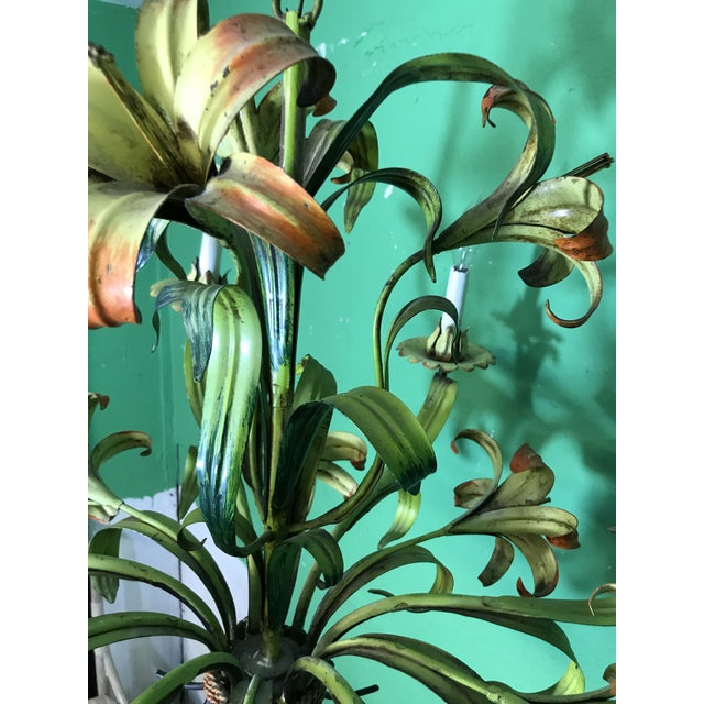 Vintage Italian Hand Painted Tiger Lily Tole Chandelier For Sale - Image 6 of 13