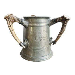 1906 Antique Pewter Eton Rowing Trophy With Antler Handles For Sale