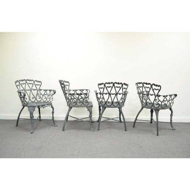 Vintage Cast Aluminum Heart Back French Style Patio Chairs - Set of 4 For Sale - Image 4 of 11