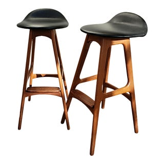 1970s Mid-Century Modern Erik Buch Teak and Rosewood Barstools - a Pair For Sale