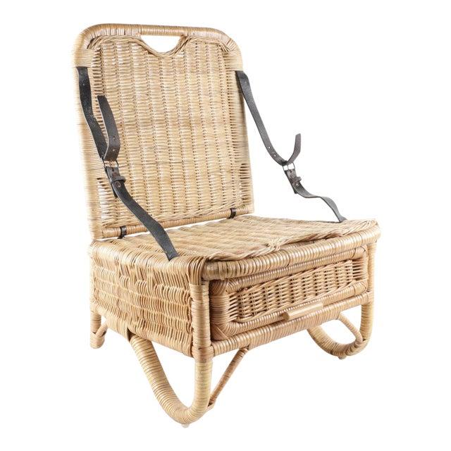 Vintage Wicker Picnic Basket Folding Chair For Sale