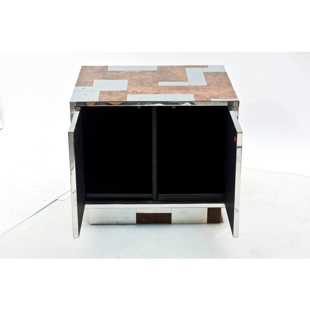 Paul Evans American Modern Burl Walnut and Chrome Two-Door Cabinet, Paul Evans For Sale - Image 4 of 9