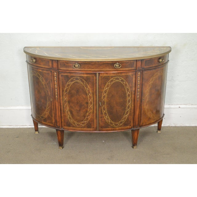 Theodore Alexander Inlaid Burl Wood Demilune Bow Front Side Cabinet Console For Sale - Image 10 of 13