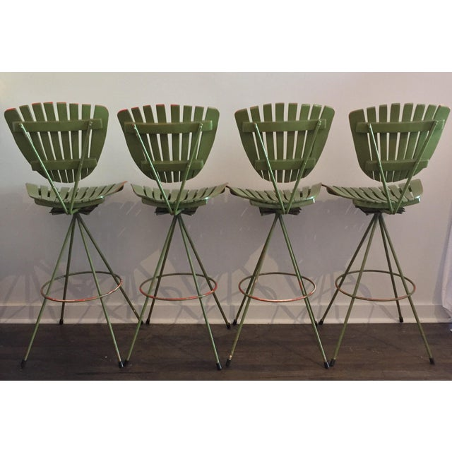 Vintage Molded Mood Slat Barstools - Set of 4 - Image 4 of 5