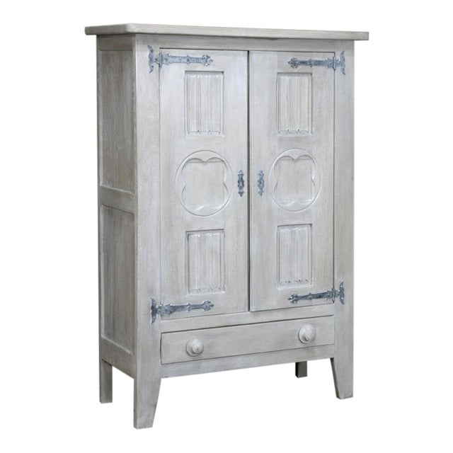Antique Rustic Country French Painted Gothic Cabinet For Sale