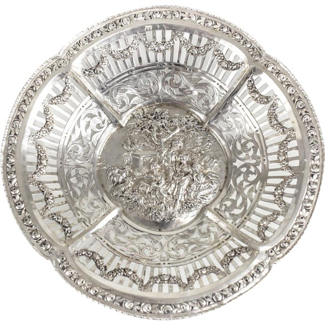 German 800 Silver Pierced Scalloped Repousse Floral Swags Rim Bowl, Circa 1900 - Image 2 of 5