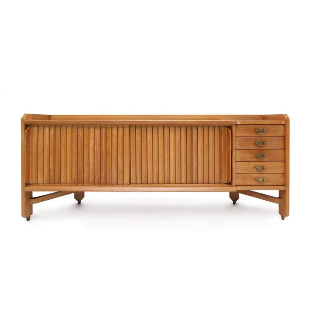 Sideboard in beautiful natural oak by Guillerme et Chambron, France, 1960s. Ceramic tile inlay on the top and wabi sabi...