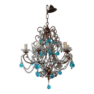 French Aqua Blue Murano Drops Crystal Chandelier, circa 1920 For Sale