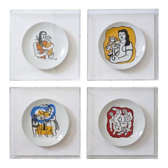 Vintage Framed Fernand Leger Porcelain Plates - a Set of 4 Different in Lucite Shadowbox Frames For Sale
