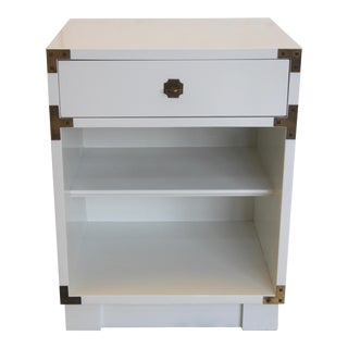 Drexel Campaign Lacquered Nightstand For Sale