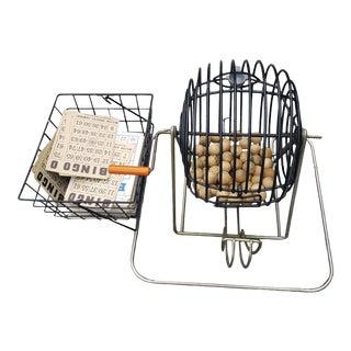 Vintage Bingo Cage with Wooden Balls & Bakelite Handle For Sale