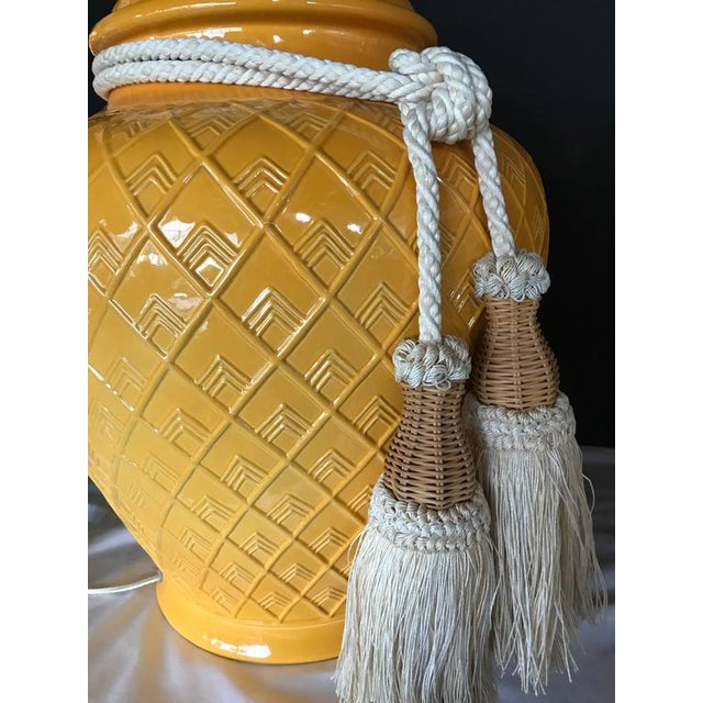 Hollywood Regency Yellow Glazed Ceramic Jardinière Lidded Vase Lamps - A Pair For Sale - Image 3 of 10