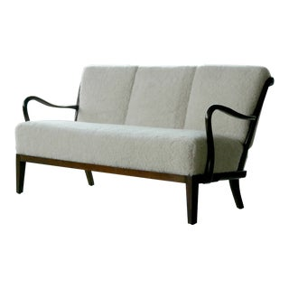 1940s Alfred Christensen Lambswool Covered Spindle Back Sofa or Settee For Sale