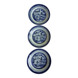 Late 19th Century Antique Canton Blue & White Plates - Set of 3