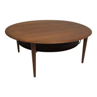 Mid Century Modern Round Teak & Cane Coffee Table by Peter Hvidt and Orla Molgaard Nielsen for John Stuart For Sale